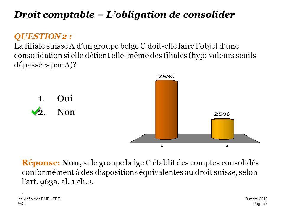 Droit comptable – L'obligation de consolider QUESTION 2 : La filiale suisse A d'un groupe belge C doit-elle faire l'objet d'une consolidation si elle détient elle-même des filiales (hyp: valeurs seuils dépassées par A)