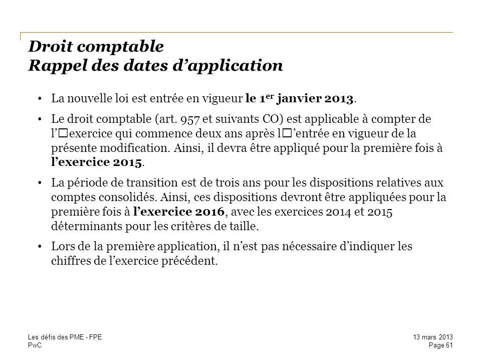Droit comptable Rappel des dates d'application