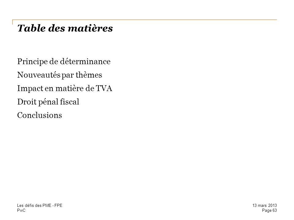 Table des matières Principe de déterminance Nouveautés par thèmes Impact en matière de TVA Droit pénal fiscal Conclusions