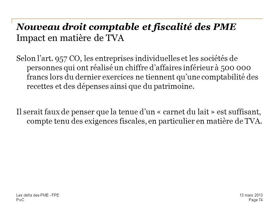 Nouveau droit comptable et fiscalité des PME Impact en matière de TVA