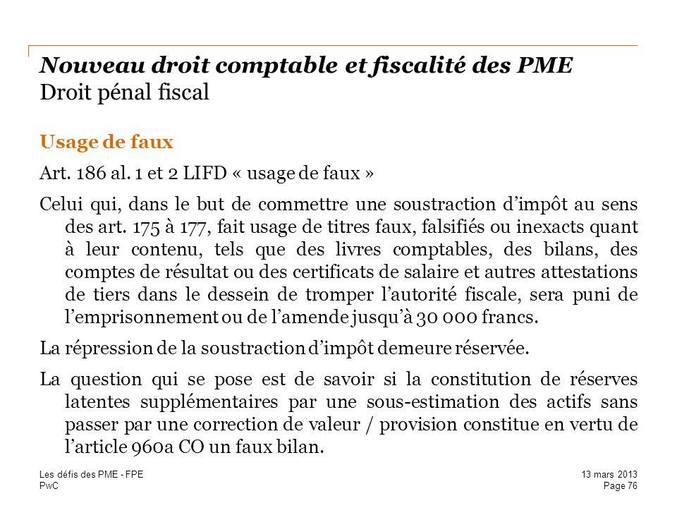 Nouveau droit comptable et fiscalité des PME Droit pénal fiscal