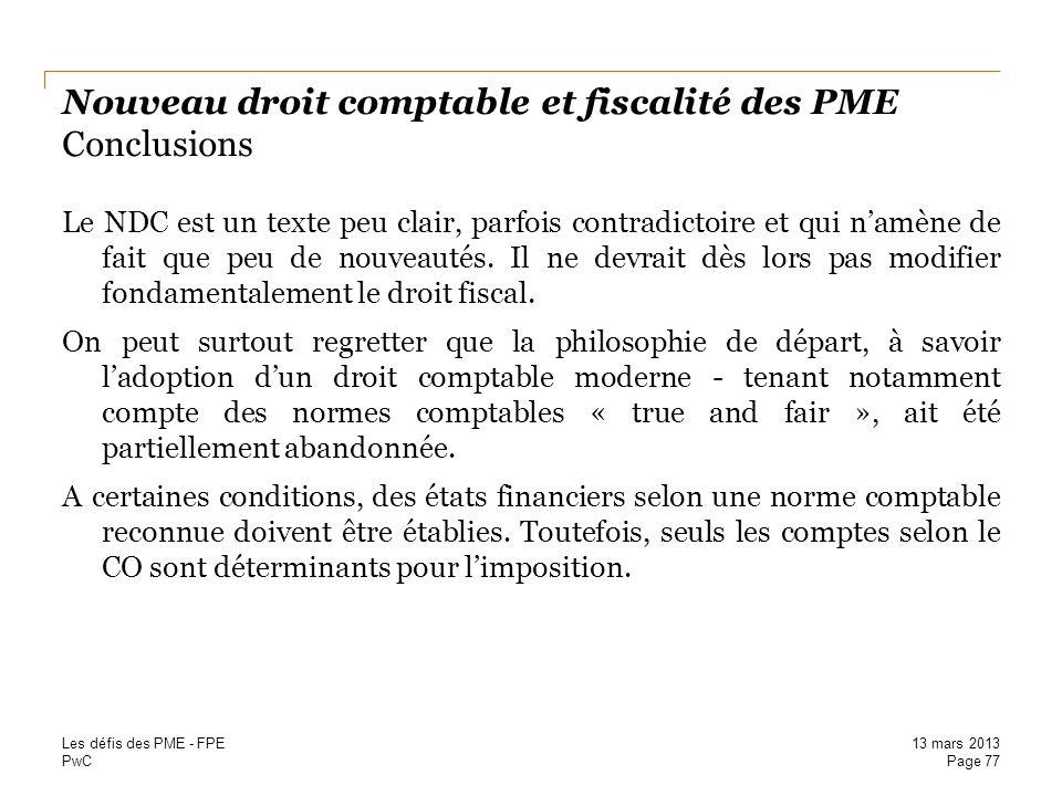 Nouveau droit comptable et fiscalité des PME Conclusions