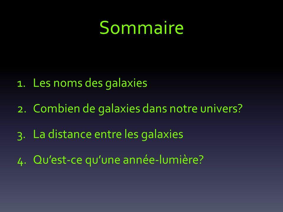 Sommaire Les noms des galaxies Combien de galaxies dans notre univers