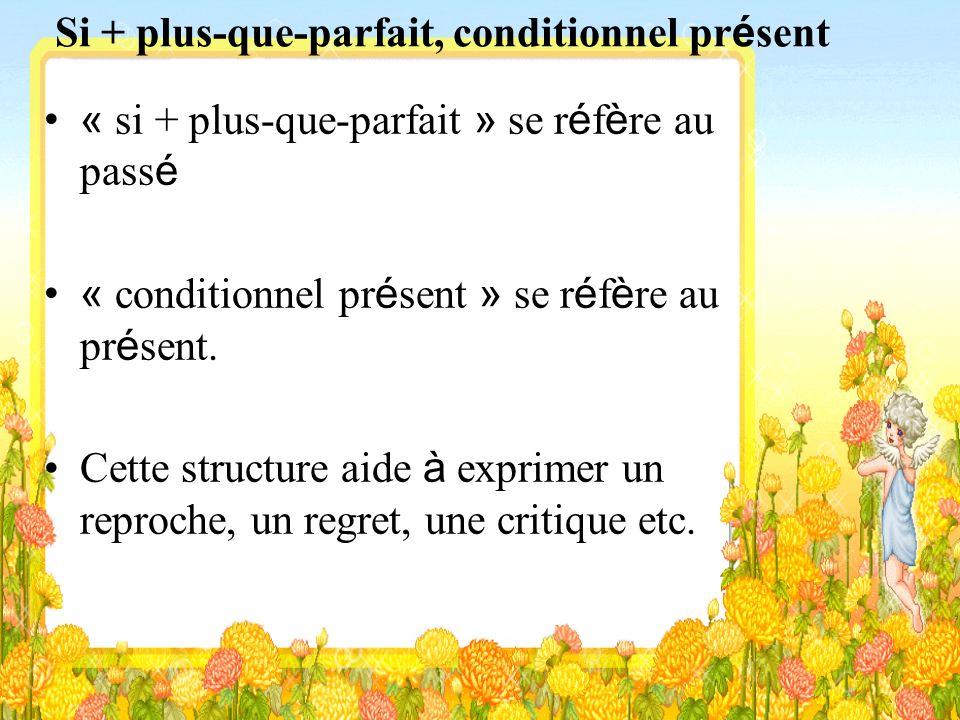 Si + plus-que-parfait, conditionnel présent