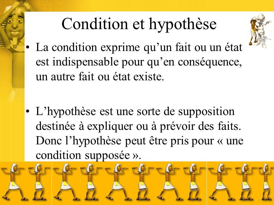 Condition et hypothèse