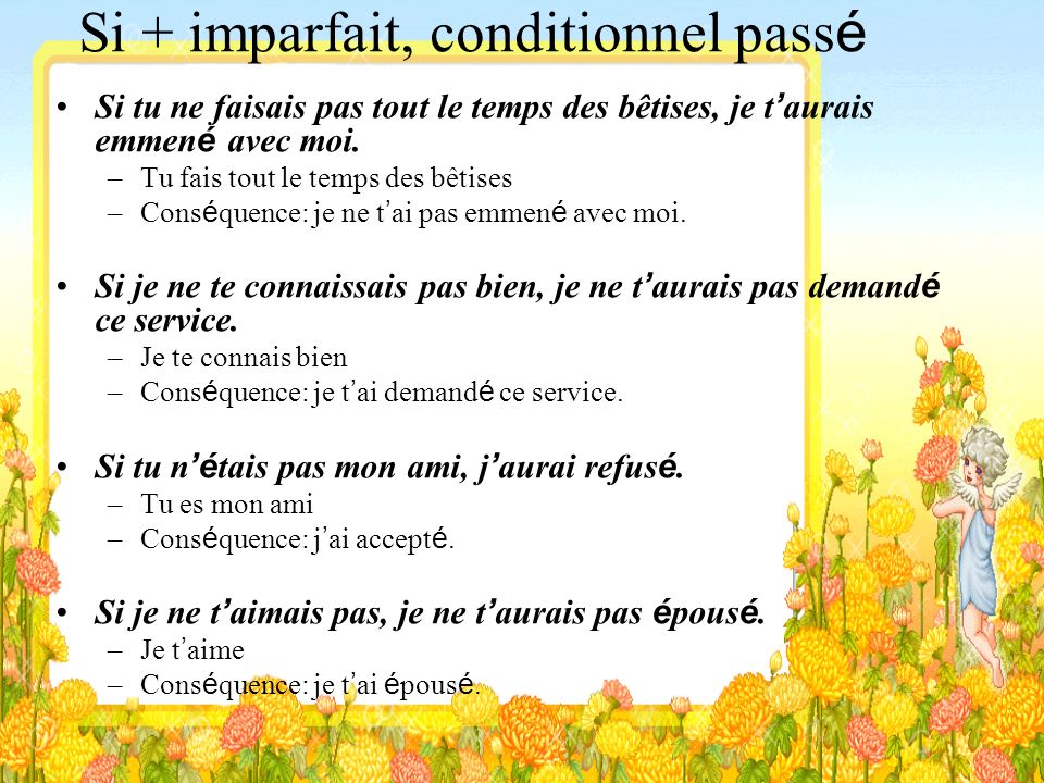 Si + imparfait, conditionnel passé