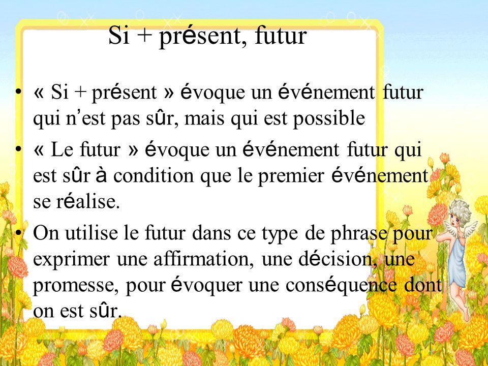 Si + présent, futur « Si + présent » évoque un événement futur qui n'est pas sûr, mais qui est possible.