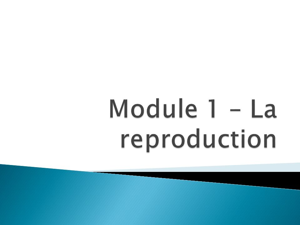 Module 1 – La reproduction