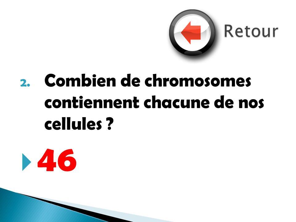 Retour Combien de chromosomes contiennent chacune de nos cellules 46