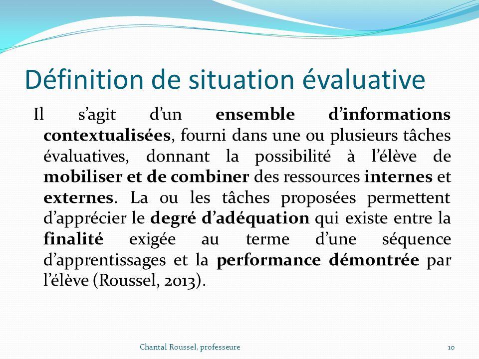 Définition de situation évaluative