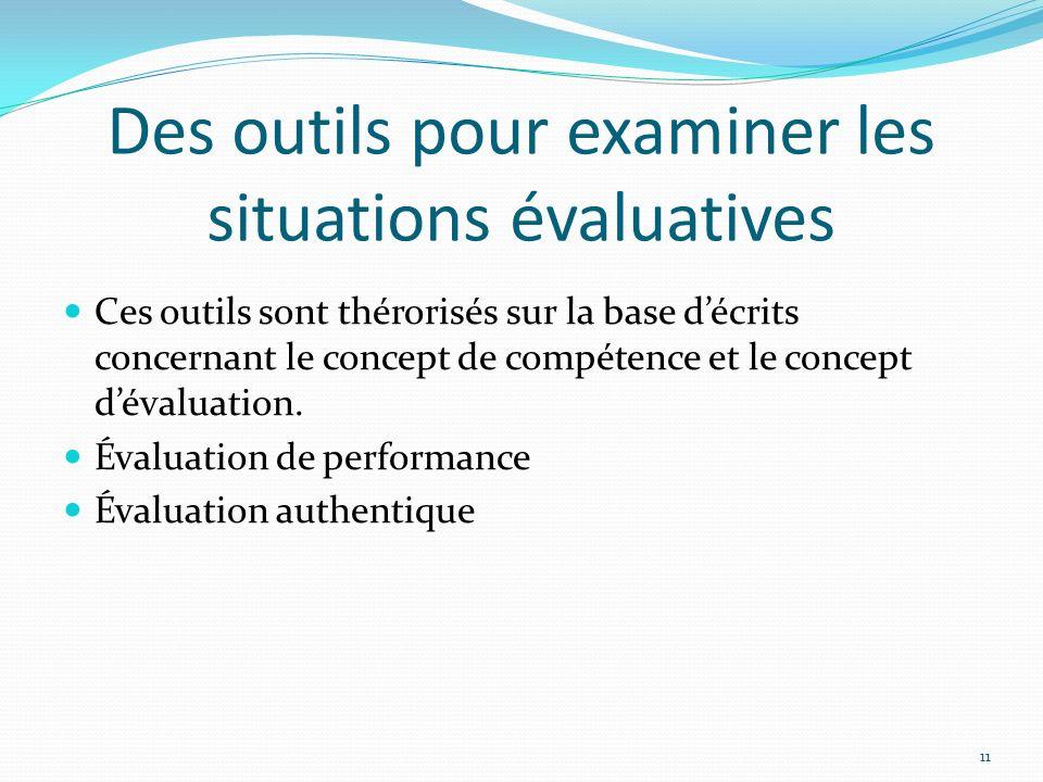 Des outils pour examiner les situations évaluatives