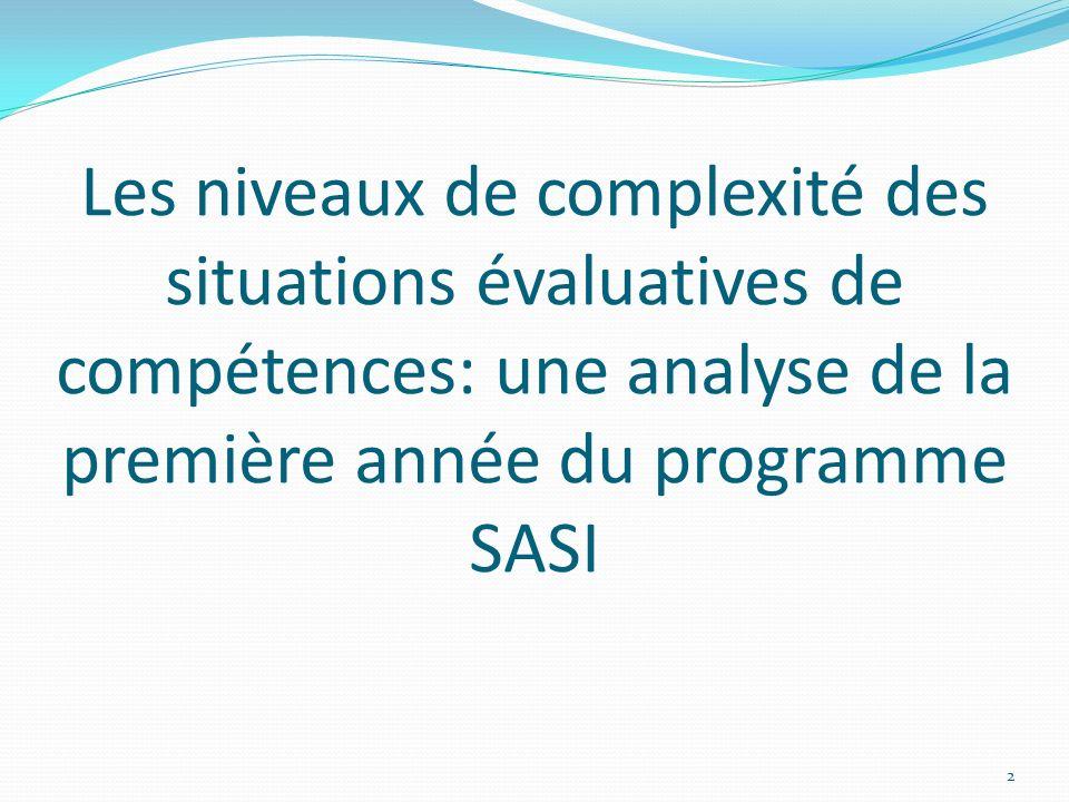 Les niveaux de complexité des situations évaluatives de compétences: une analyse de la première année du programme SASI