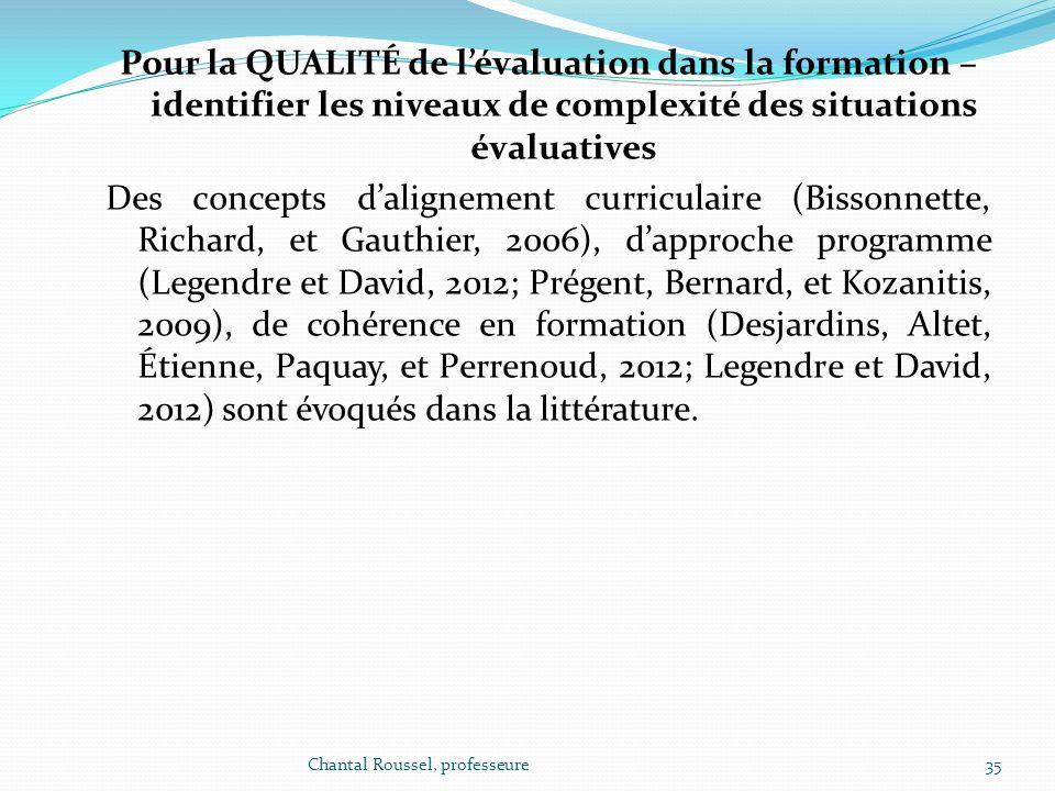 Pour la QUALITÉ de l'évaluation dans la formation – identifier les niveaux de complexité des situations évaluatives Des concepts d'alignement curriculaire (Bissonnette, Richard, et Gauthier, 2006), d'approche programme (Legendre et David, 2012; Prégent, Bernard, et Kozanitis, 2009), de cohérence en formation (Desjardins, Altet, Étienne, Paquay, et Perrenoud, 2012; Legendre et David, 2012) sont évoqués dans la littérature.