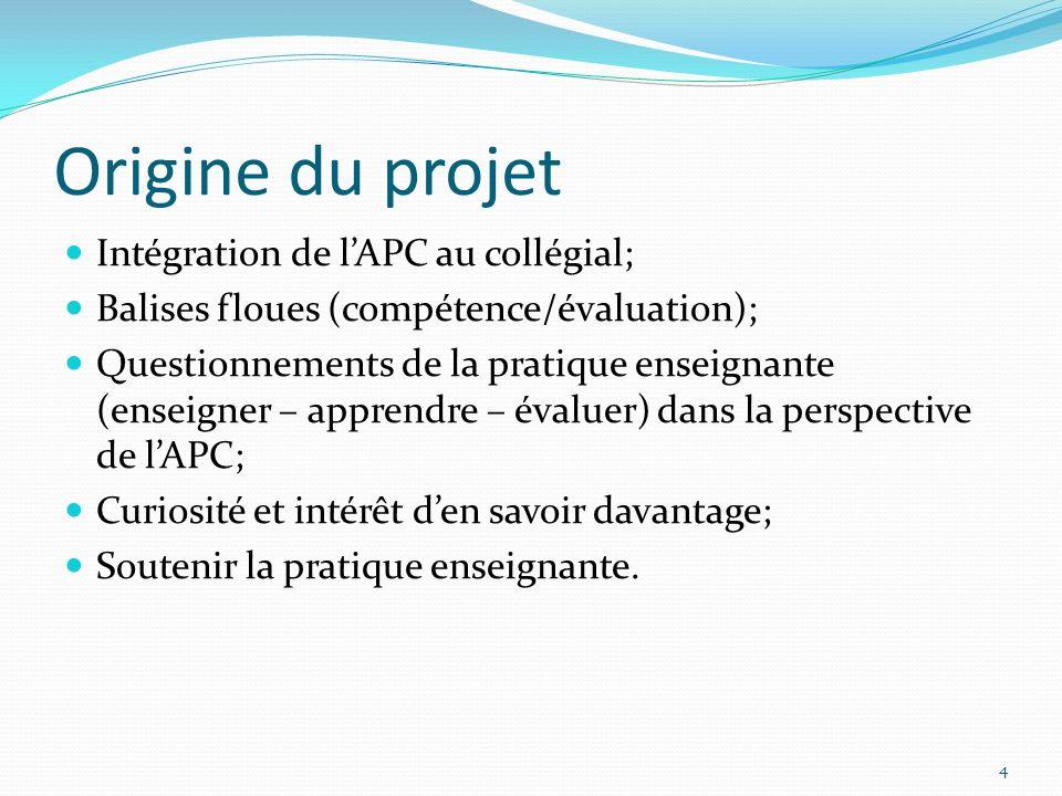 Origine du projet Intégration de l'APC au collégial;