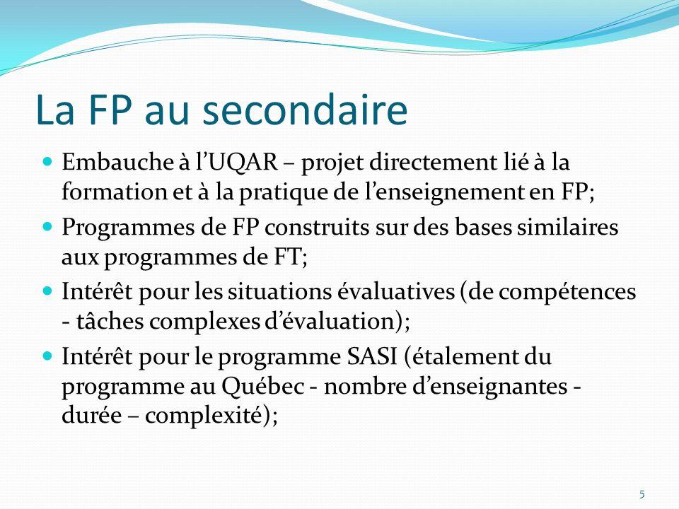 La FP au secondaire Embauche à l'UQAR – projet directement lié à la formation et à la pratique de l'enseignement en FP;