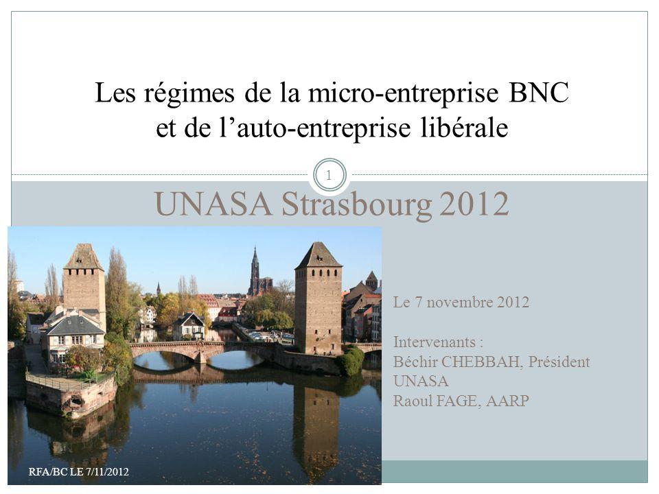 Bienvenue à Paris Les régimes de la micro-entreprise BNC et de l'auto-entreprise libérale UNASA Strasbourg 2012
