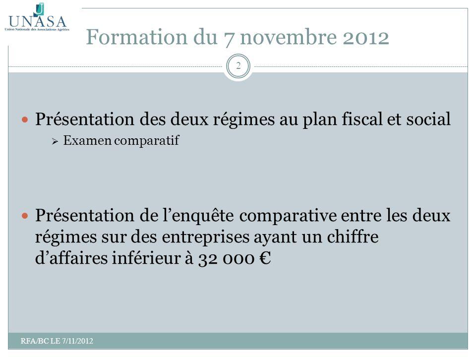 Formation du 7 novembre 2012 Présentation des deux régimes au plan fiscal et social. Examen comparatif.