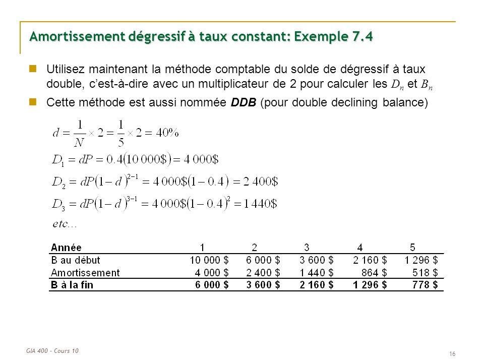 Amortissement dégressif à taux constant: Exemple 7.4