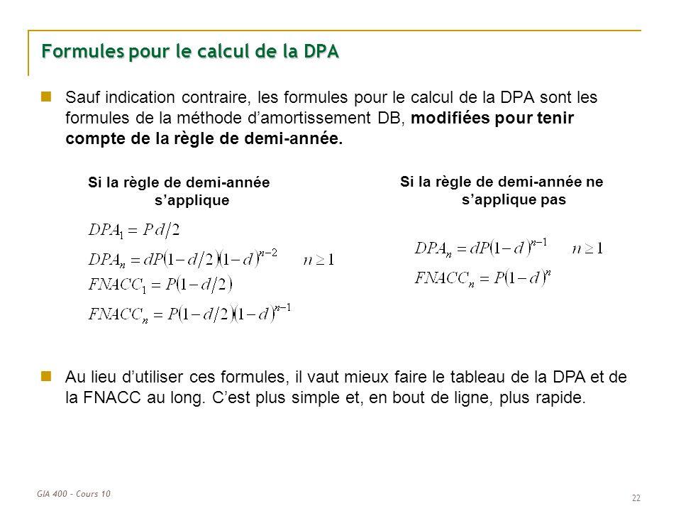 Formules pour le calcul de la DPA