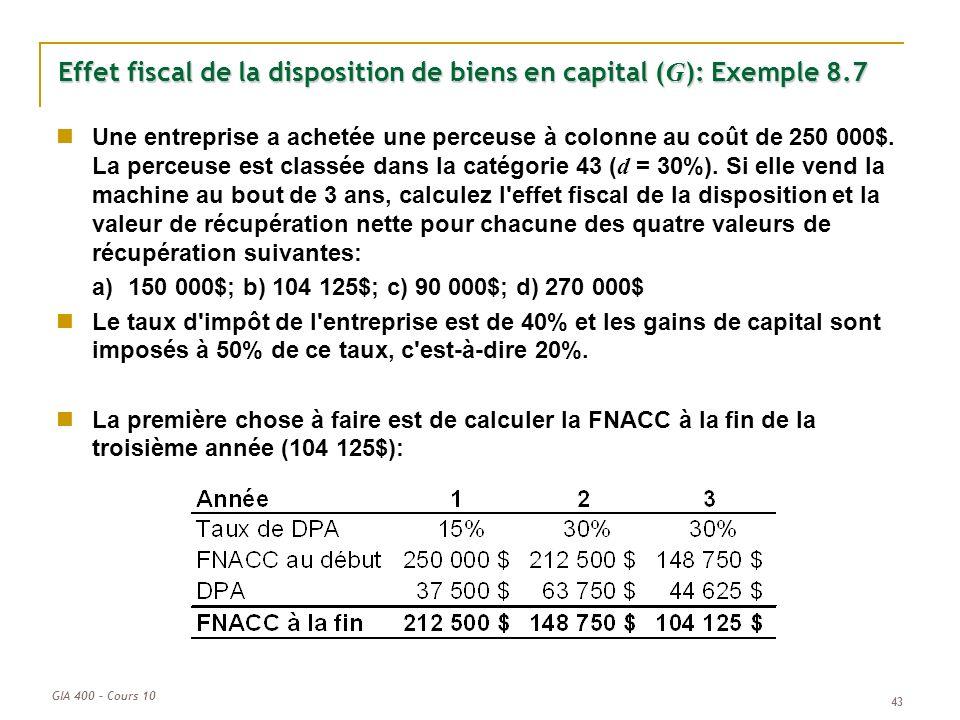 Effet fiscal de la disposition de biens en capital (G): Exemple 8.7