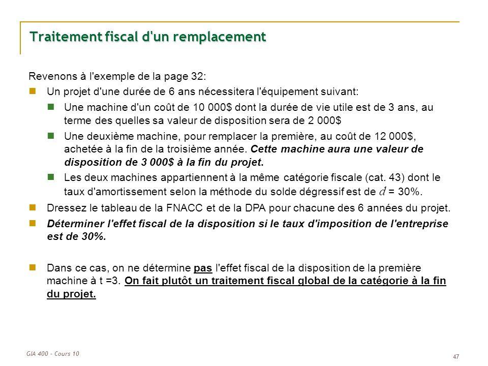 Traitement fiscal d un remplacement