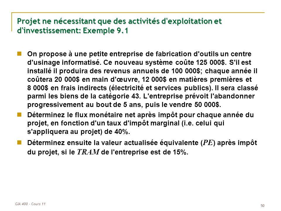 Projet ne nécessitant que des activités d exploitation et d investissement: Exemple 9.1