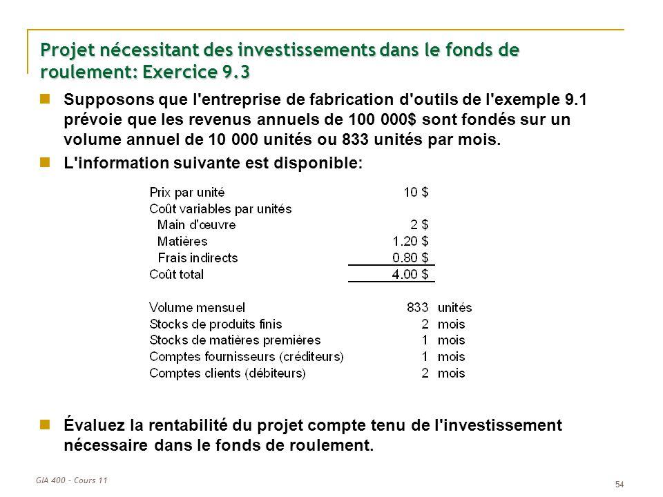 Projet nécessitant des investissements dans le fonds de roulement: Exercice 9.3