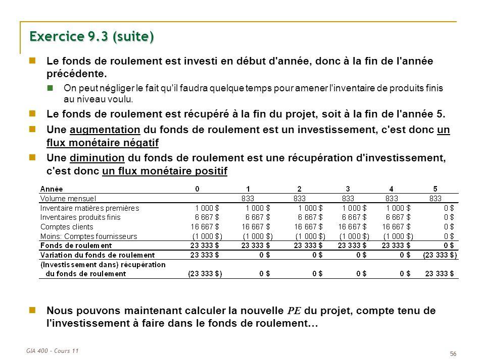 Exercice 9.3 (suite) Le fonds de roulement est investi en début d année, donc à la fin de l année précédente.