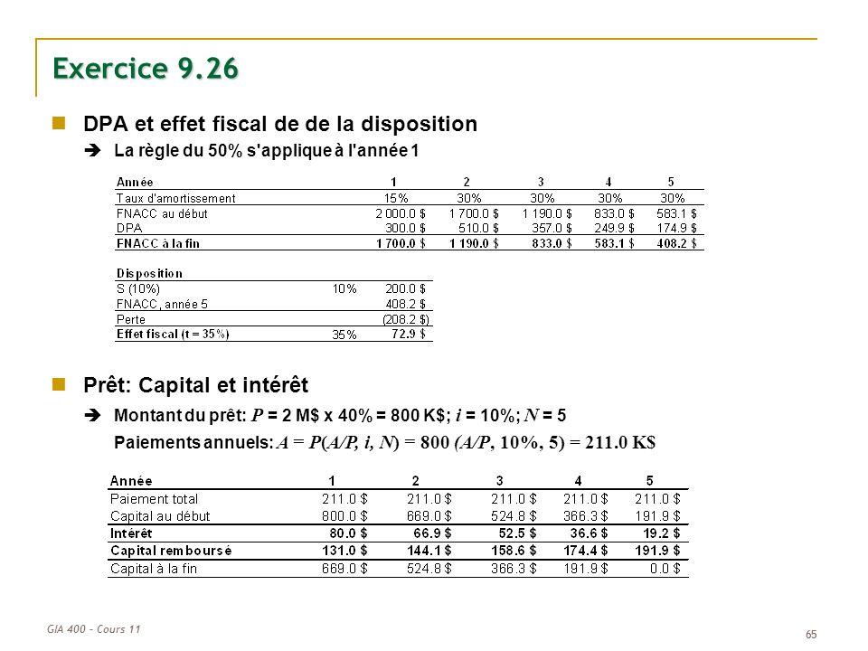 Exercice 9.26 DPA et effet fiscal de de la disposition