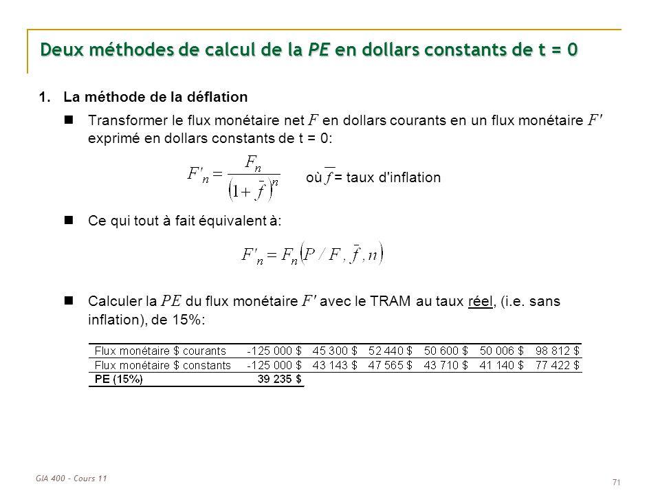 Deux méthodes de calcul de la PE en dollars constants de t = 0