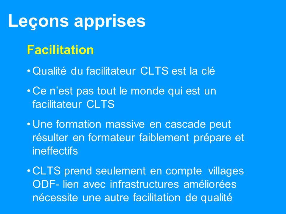 Leçons apprises Facilitation Qualité du facilitateur CLTS est la clé