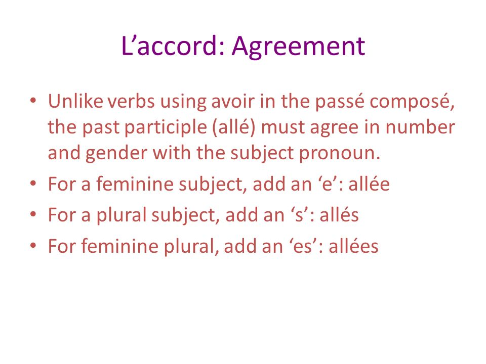 L'accord: Agreement