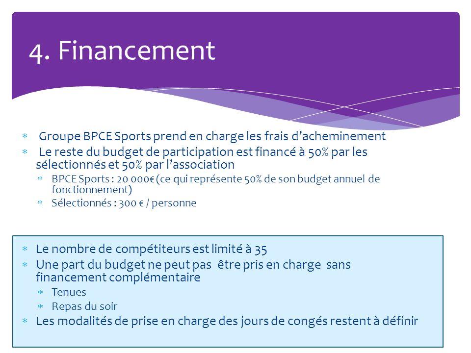 4. Financement Groupe BPCE Sports prend en charge les frais d'acheminement.