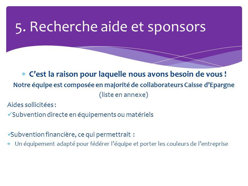 5. Recherche aide et sponsors