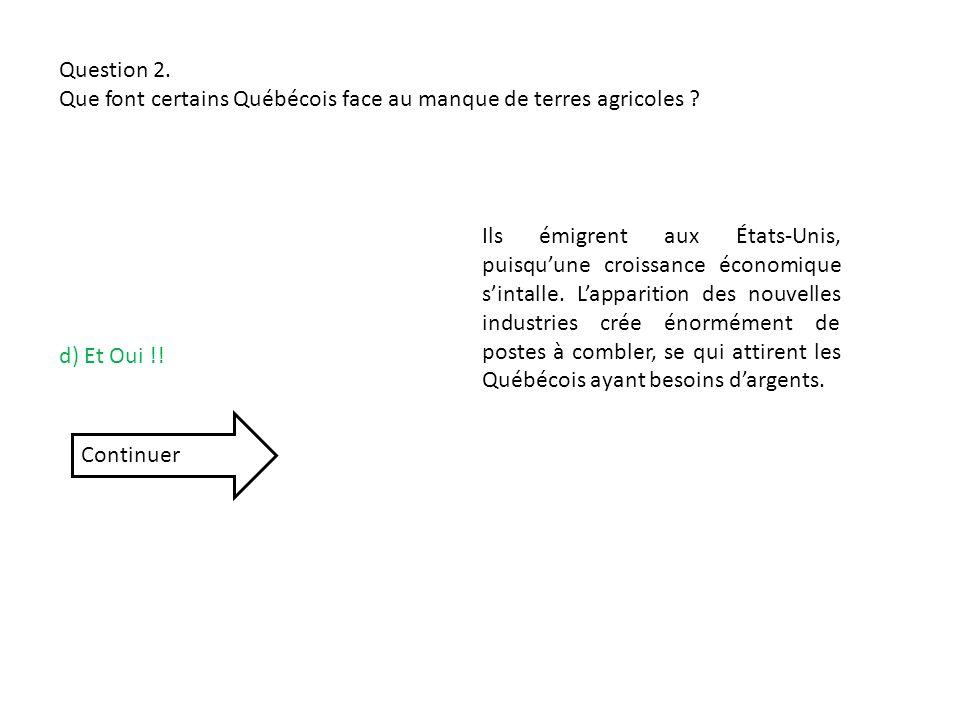 Question 2. Que font certains Québécois face au manque de terres agricoles
