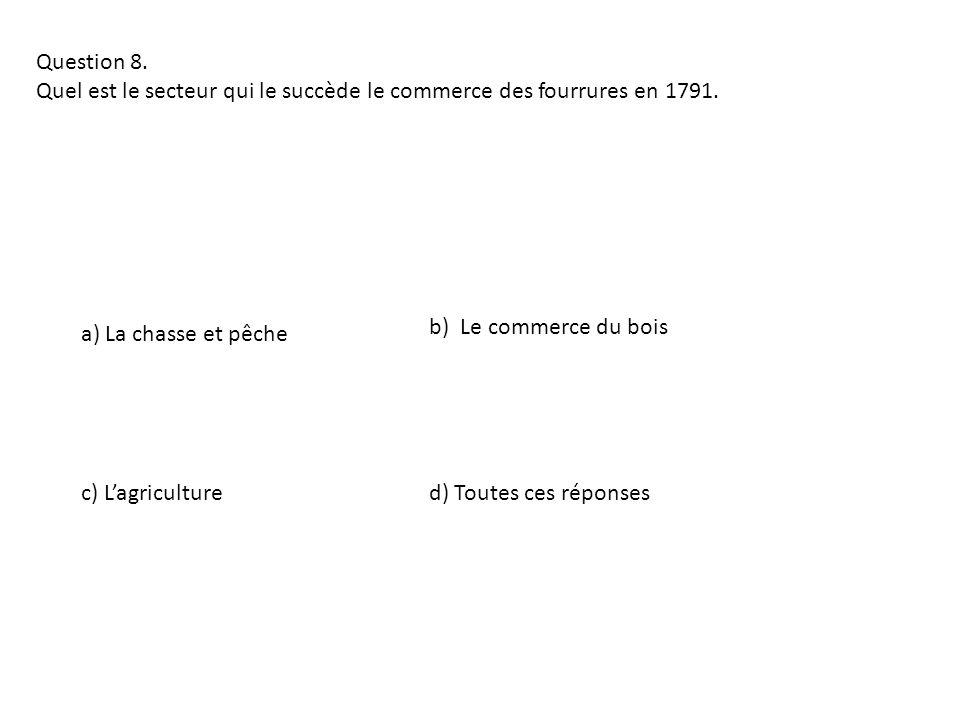 Question 8. Quel est le secteur qui le succède le commerce des fourrures en 1791. b) Le commerce du bois.