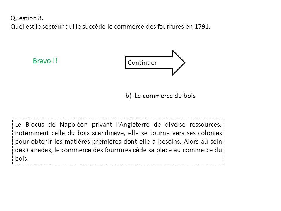 Question 8. Quel est le secteur qui le succède le commerce des fourrures en 1791. Bravo !! Continuer.