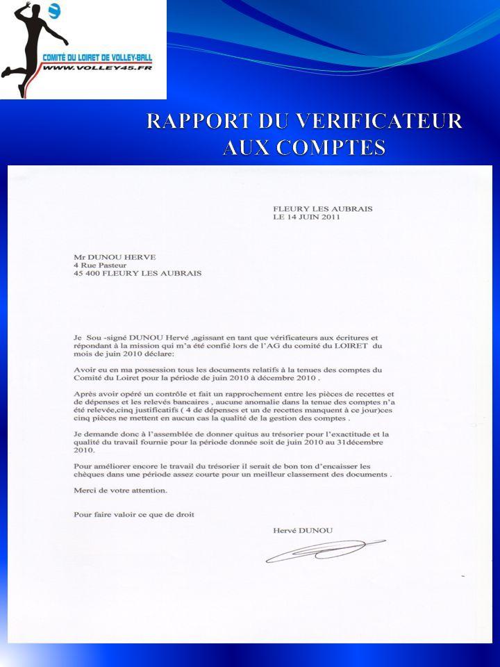 RAPPORT DU VERIFICATEUR AUX COMPTES