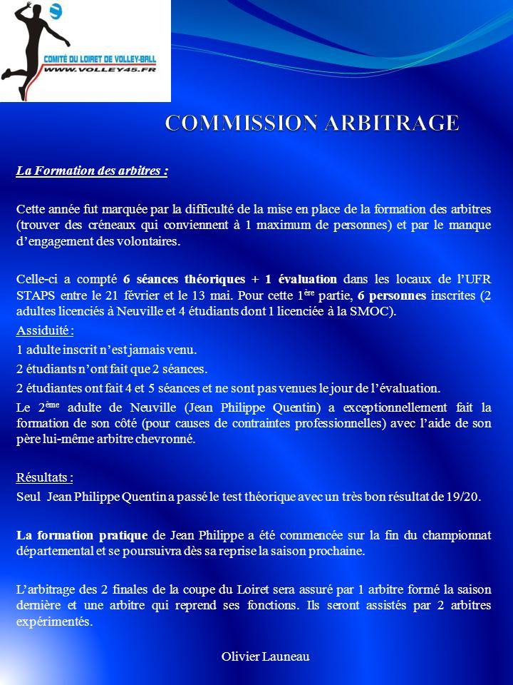 COMMISSION ARBITRAGE La Formation des arbitres :