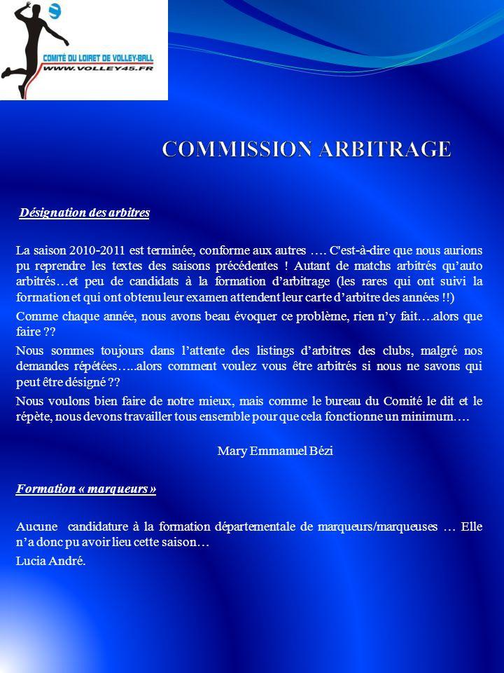 COMMISSION ARBITRAGE Désignation des arbitres