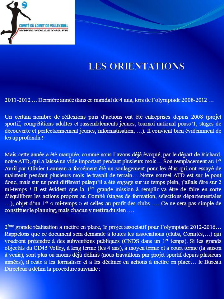 LES ORIENTATIONS 2011-2012 … Dernière année dans ce mandat de 4 ans, lors de l'olympiade 2008-2012 …