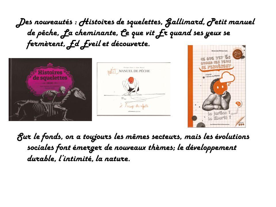 Des nouveautés : Histoires de squelettes, Gallimard, Petit manuel de pêche, La cheminante, Ce que vit Er quand ses yeux se fermèrent, Ed Eveil et découverte.