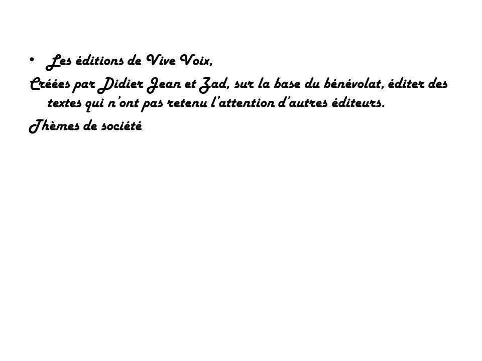 Les éditions de Vive Voix,