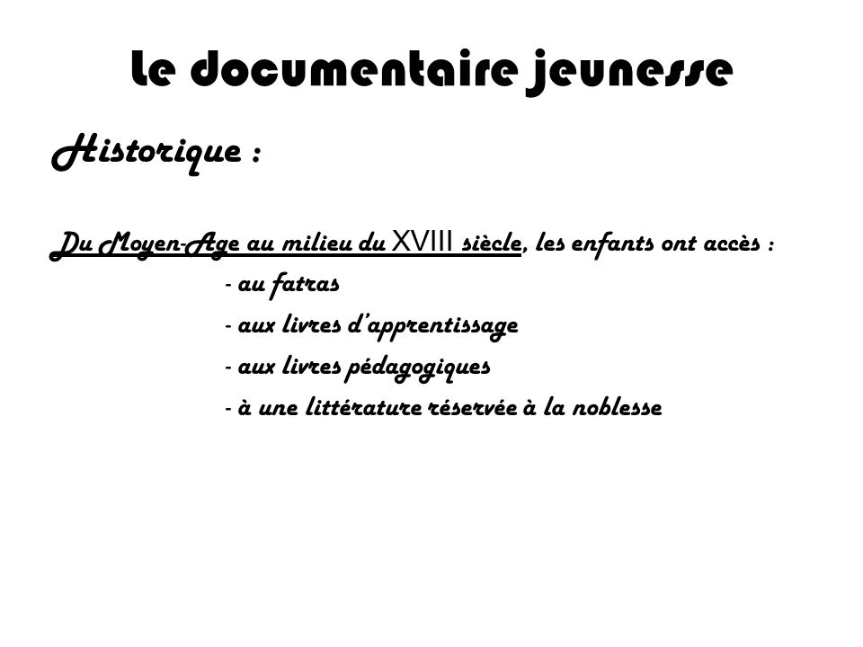 Le documentaire jeunesse