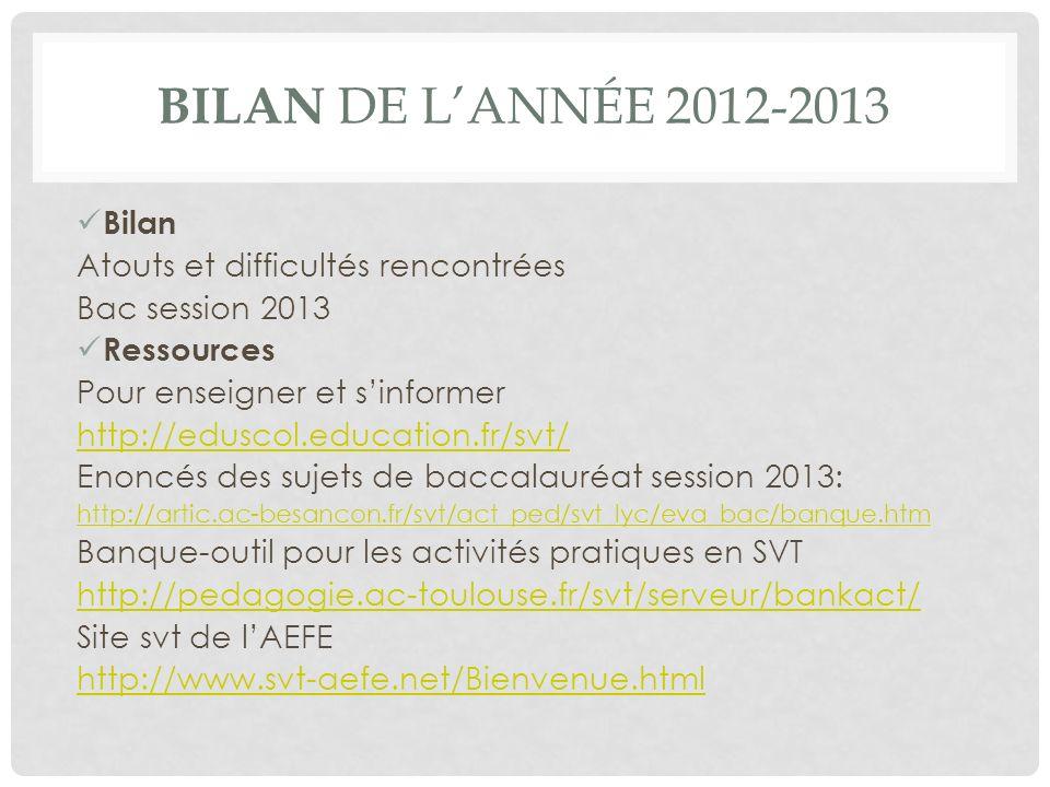 Bilan de l'année 2012-2013 Bilan Atouts et difficultés rencontrées
