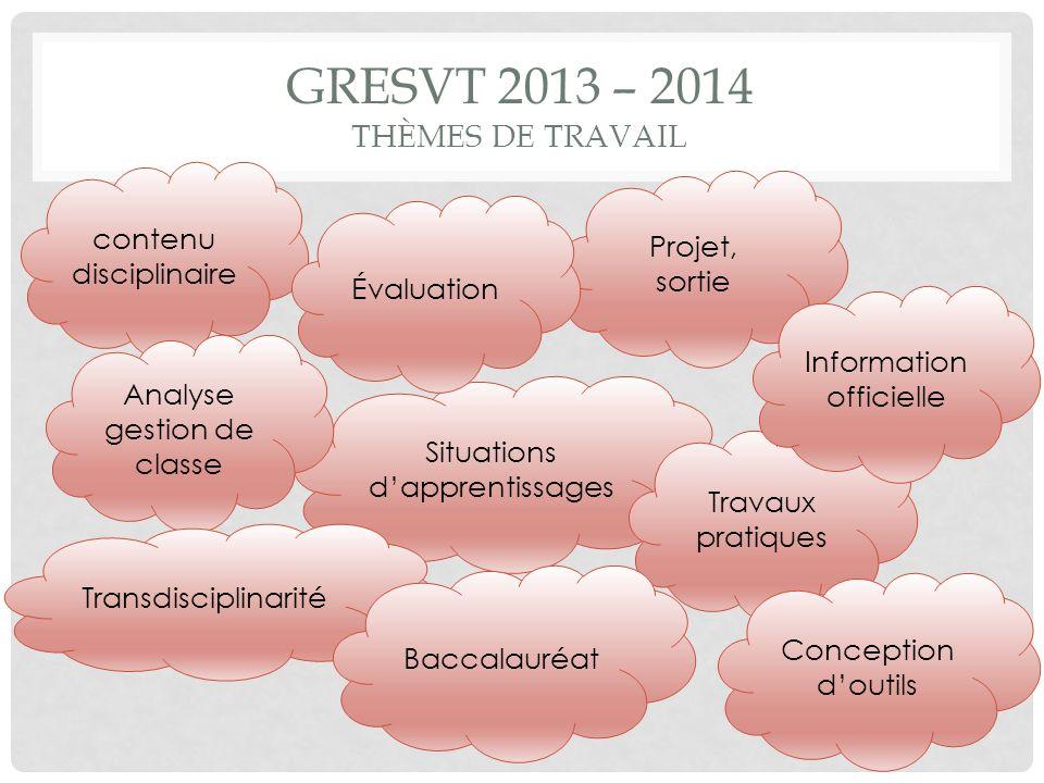 Gresvt 2013 – 2014 thèmes de travail