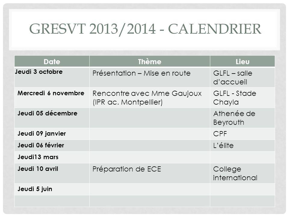GRESVT 2013/2014 - calendrier Date Thème Lieu