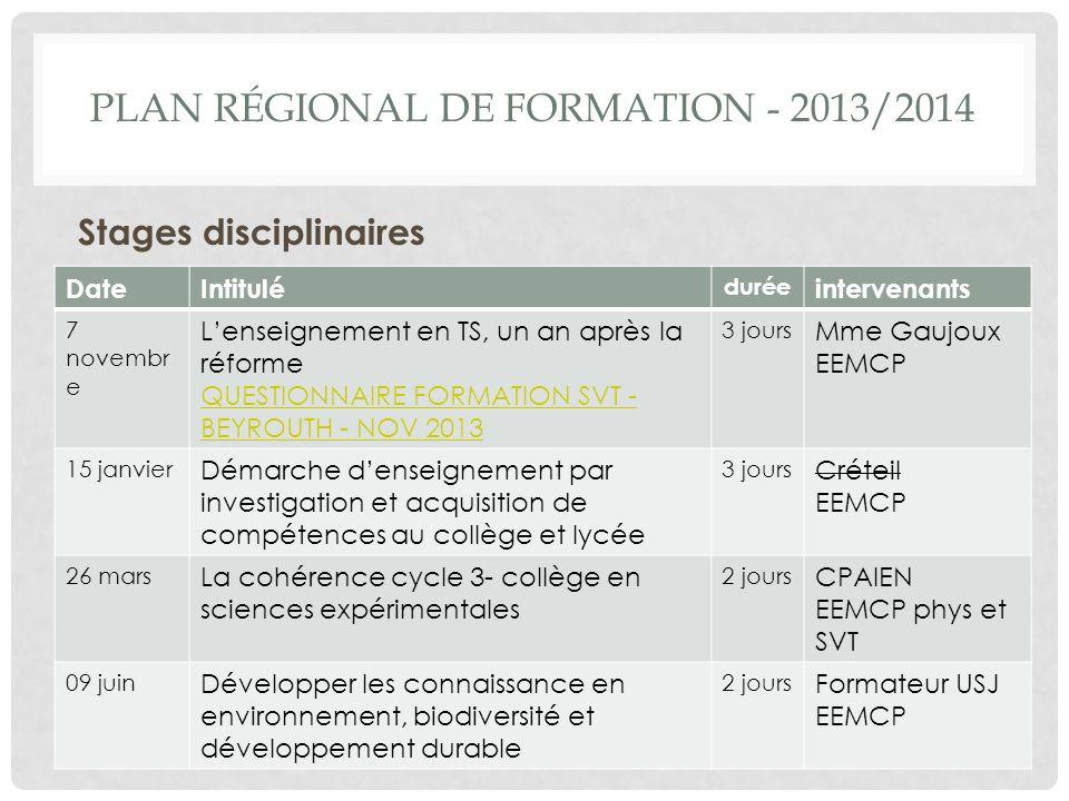plan régional de formation - 2013/2014