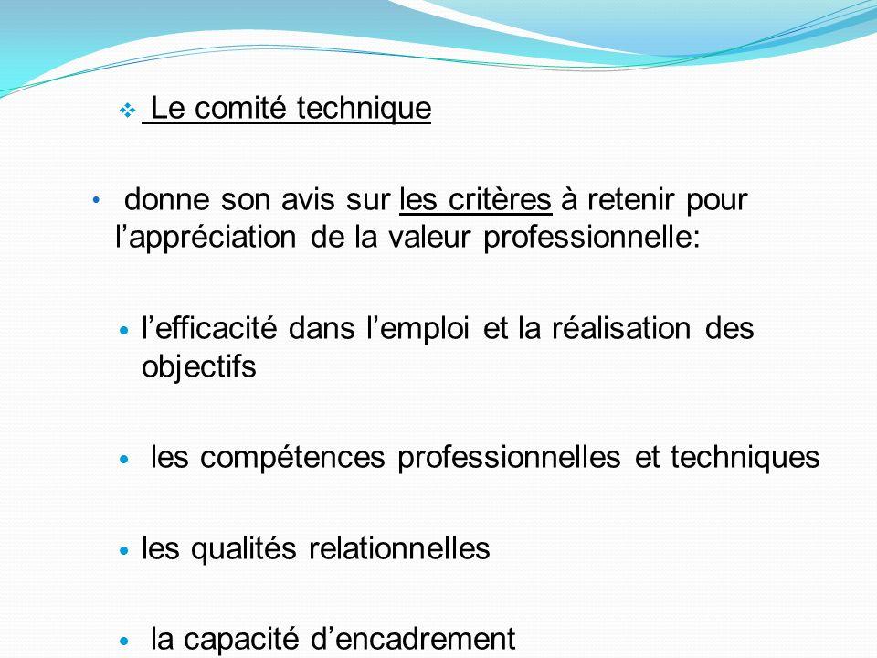 Le comité technique donne son avis sur les critères à retenir pour l'appréciation de la valeur professionnelle: