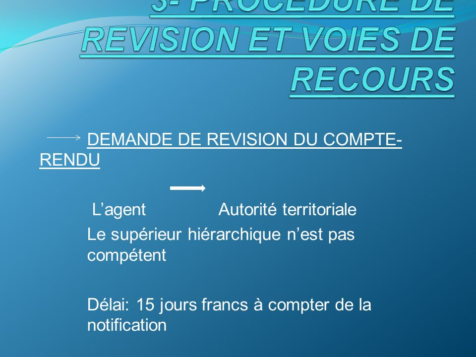 3- PROCEDURE DE REVISION ET VOIES DE RECOURS